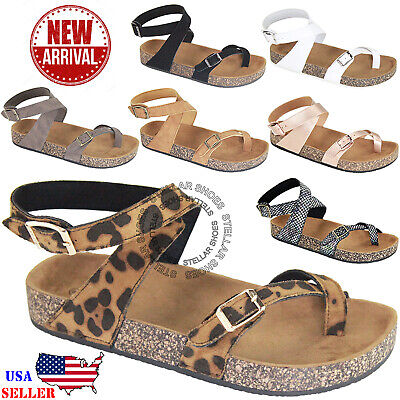 2850bf982639 NEW Women Sandals Slide Buckle T-Strap Cork Footbed Platform Flip Flop Shoes