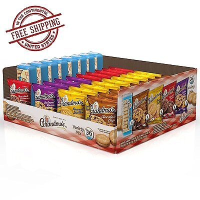 Grandma's Cookies Variety Pack 36 Count Box Biscotti Chocolate Chip Brownie -