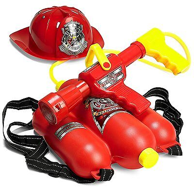 Backpack Water Gun (Prextex Fireman Backpack Water Gun Blaster with Fire Hat- Beach Toy and Outdoor)
