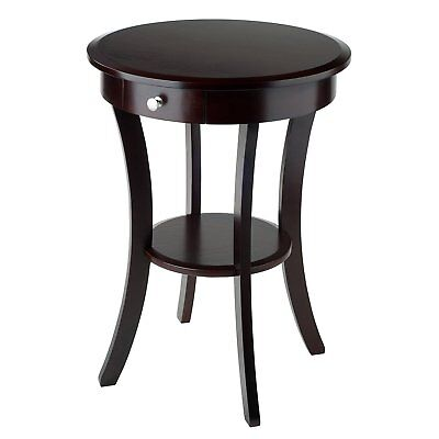 - Round Side Table Wood Curved Legs One Drawer Cappuccino Living Room Furniture