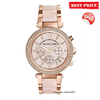 NEW Michael Kors Parker Ladies Women Watch MK5896 Rose Gold-Tone Crystal 39MM