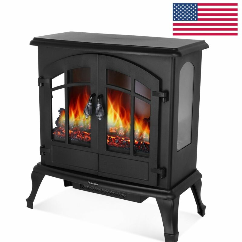 1500w Electric Fireplace Heater Freestanding Stove With Realistic Burning Flame