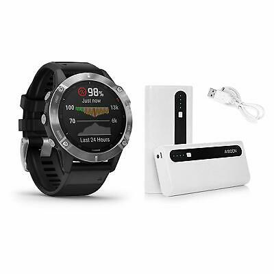 Garmin fenix 6 Silver Multisport GPS Watch with Aibocn Battery Pack 010-02158-00