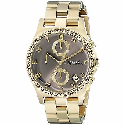 Marc by Marc Jacobs MBM3298 Henry Gray/Gold Chronograph Women's Watch New in Box