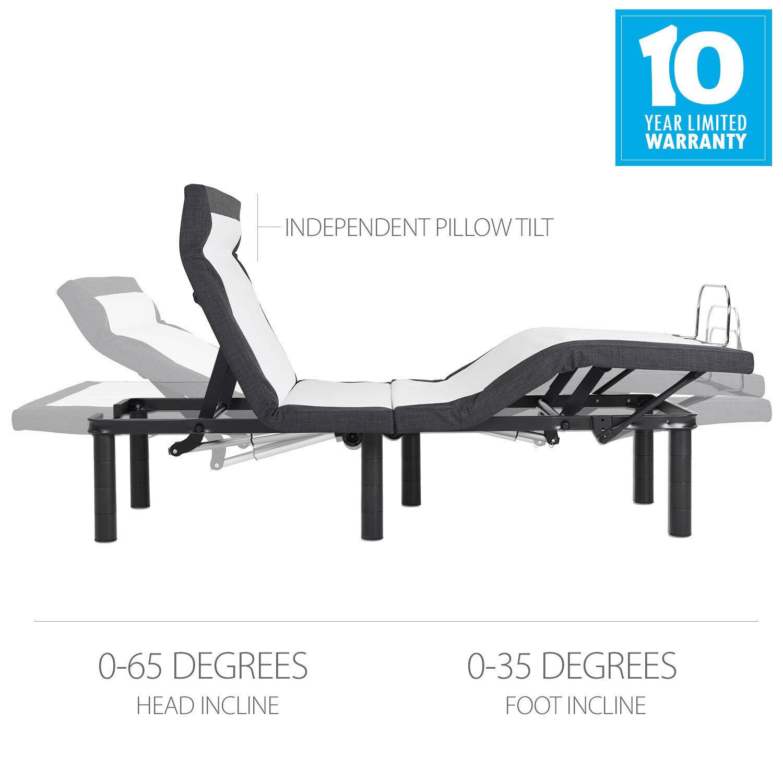 Full Size Adjustable Bed Base,Pillow Tilt, Massage, Anti-Sno