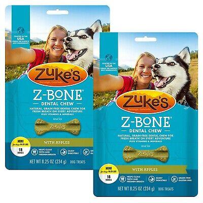 Zuke's Z-Bone Dental Chew Dog Treats - Apple - Pack of 2
