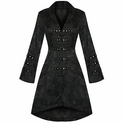 Women's Black Brocade Gothic Steampunk Floral Jacket Coat W/Corset Lacing (Goth Steampunk)