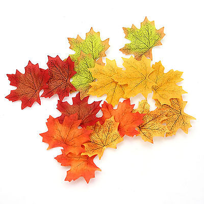 Fashion 100pcs Fall Silk Leaves Wedding Favor Autumn Maple Leaf Decorations - Fall Leaves Decorations