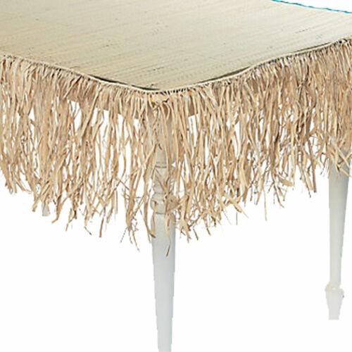 24-FT REAL RAFFIA FRINGE GARLAND Tiki Bar Grass Thatch Tropical Luau Decoration