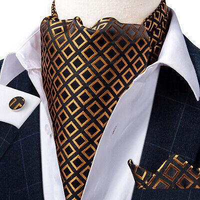 USA Black Gold Plaids Checks Mens Silk Ascot Cravat Pocket Square Cufflinks Set Check Square Cufflinks