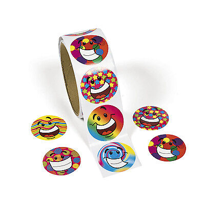 100 Colorful Funky Smile Happy Smiley Face Stickers Party Favor Loot Bag](Party Smiley Face)