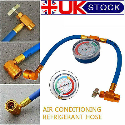 Car Air Conditioning Refrigerant Recharge Measuring Kit Hose Gas Gauge R134A