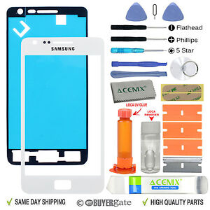 Samsung Galaxy S2 Replacement Screen Front Glass Outer lens Repair Kit WHITE UK