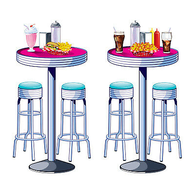 1950s Sock Hop Grease Party Decoration SODA SHOP Diner TABLES & STOOLS PROPS (1950 Party Decorations)