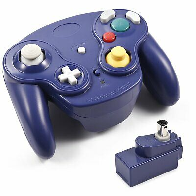 BLUE Wireless Gamecube Controller Wavebird Style w/ Adapter for Gamecube NGC GC