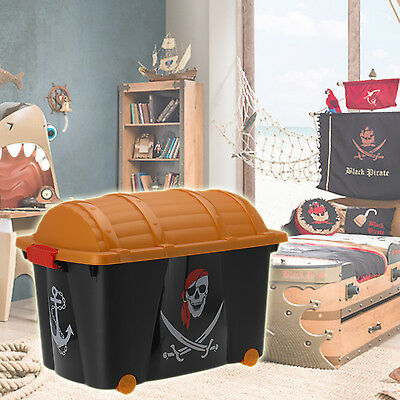 Pirate Toy Box Storage Chest Bedroom Childrens Playroom Kids Boy Play Treasure - Pirate Chest Toy Box
