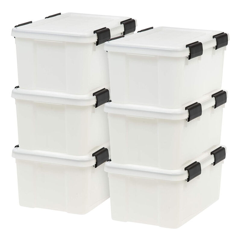 IRIS USA 19 Quart Weathertight Stackable Storage Box, Secure Lid, Clear (6 Pack)