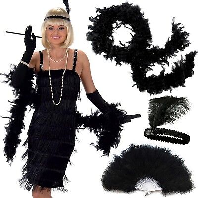 Women Roaring 20s Flapper Costume Accessorie Deluxe 3 Pack Set Charleston Outfit (Roaring 20s Outfits)