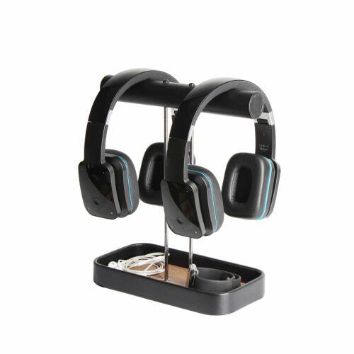 PU Leather Dual Headphone Stand Earphone Hanger Headset Holder Desk Display