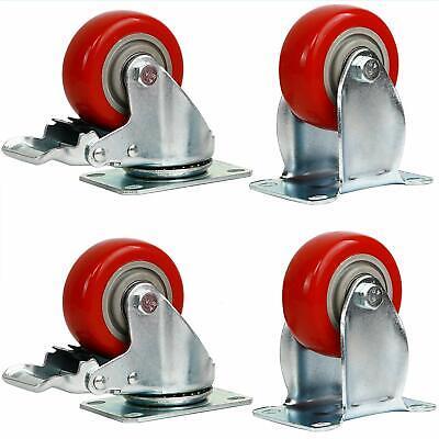 Set Of 4 Pcs Pu 3 Swivel 2 Wheel Brake Heavy Duty Caster Steel Casters Hd