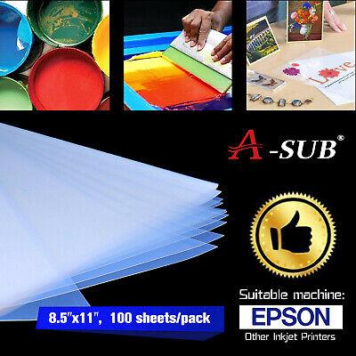Asub 100 Sheets 8.5x11 Silk Screen Printing Waterproof Inkjet Transparency Film