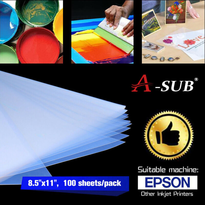 ASUB 100 Sheets 8.5x11 Silk Screen Printing Waterproof Inkjet Transparency Film