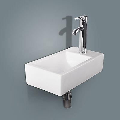 Bathroom Wall Mount Ceramic Vessel Sink Rectangle White Porcelain&Chrome Faucet