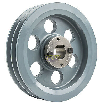 Cast Iron 7.75 2 Groove Dual Belt B Section 5l Pulley W 1-18 Sheave Bushing