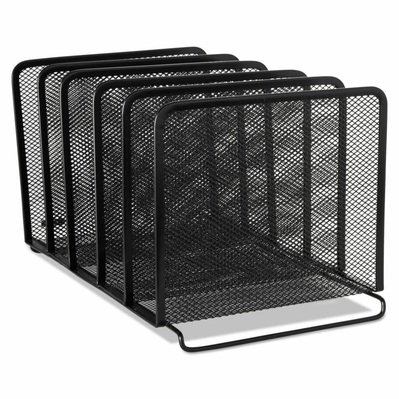 Rolodex Mesh Stacking Sorter Five Sections Metal 8 1/4 x 14 3/8 x 7 7/8 Black
