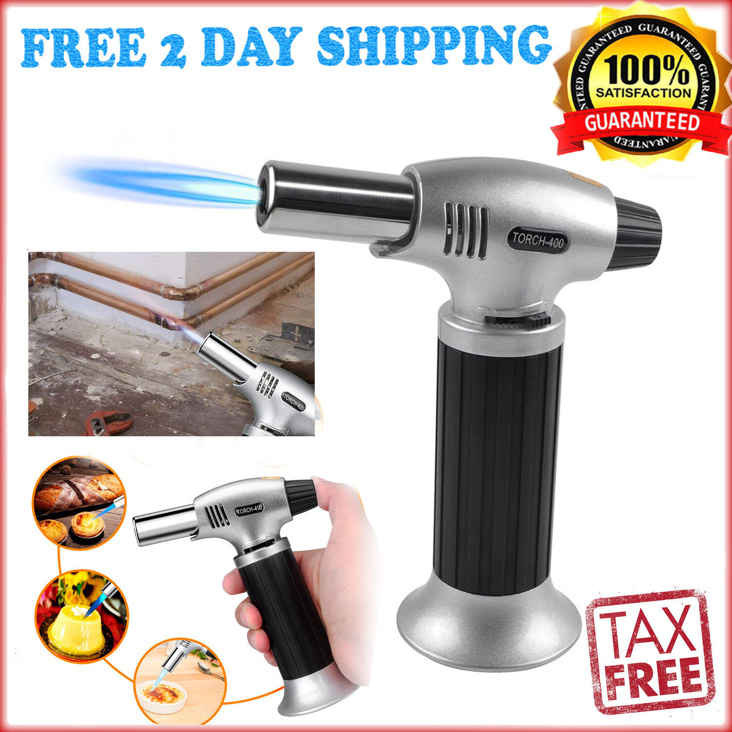 Torch Butane Lighter Kitchen Cooking Chef Culinary Fuel Gaug