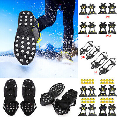 Stud Crampons Spikes Walk Traction Cleats Shoe Boot Cover Ice Snow Grips KIts