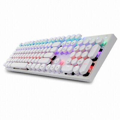 Abko Hacker K840 English Korean Blue Switch Wired Gaming Retro Keyboard (White)
