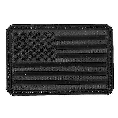 American Flag Dark Black PVC Morale Patch 3D Tactical Badge Hook #39