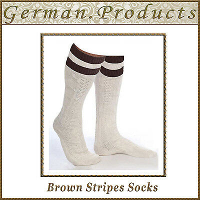 Lederhosen German Bavarian Oktoberfest Trachten Brown Stripes Mens Socks - Lederhosen Socks