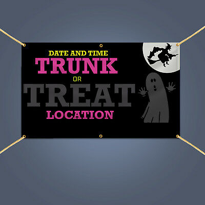 Trunk Or Treats (TRUNK OR TREAT Banner Outdoor Home Halloween Party Decor Vinyl Sign 3' X)