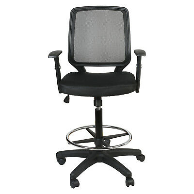 Mid-back Black Mesh Drafting Chair Wadjustable Arms Ergonomic Swivel Executive
