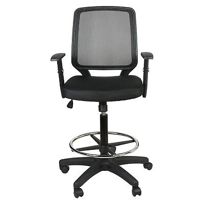 Mid-Back Black Mesh Drafting Chair W/Adjustable Arms Ergonomic Swivel Executive