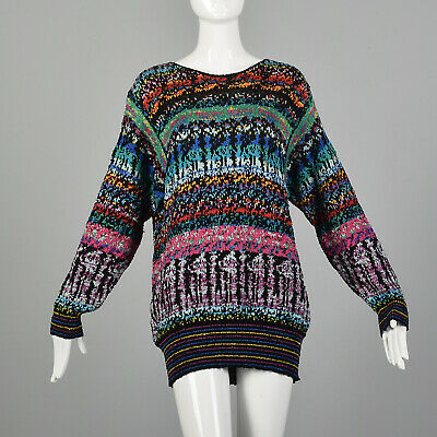 80s Sweatshirts, Sweaters, Vests | Women S 1980s Oversized Bright Abstract Ribbed Knit Ugly Cute Slouchy Sweater 80s VTG $61.20 AT vintagedancer.com
