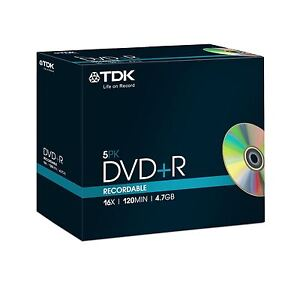 TDK DVD+R 120 Minutes 4.7GB 16X Speed Recordable Blank Discs - 5 Pack Jewel Case