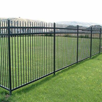 - Aspen Style 3-Rail Steel Fence Kit, Powder-Coated Black (6.5'W x 5'H)