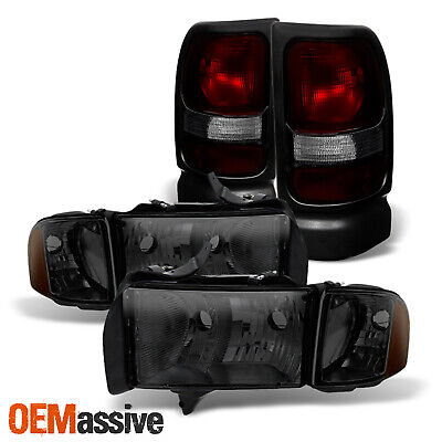 For 1999-2001 Dodge Ram 1500 Sport Smoked Headlamps + Dark Red Tail Lights Pair 2002 Dodge Ram 1500 Sport