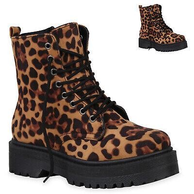 Damen Stiefeletten Plateau Schnürer Leopard Prints Schuhe 832541 Trendy Neu Leopard Print Schuhe