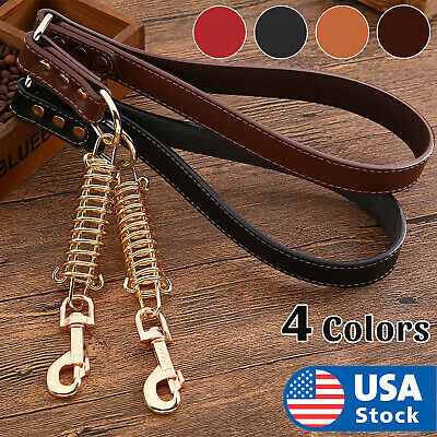 Short Leather Dog Leash for Large Dogs Training with Control Handle Traffic Lead Dog Training Lead Leash