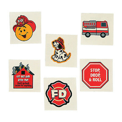 FIREMAN PARTY Temporary Tattoos Fire Safety Tattoo Favours Pack of 36 Free Post (Fireman Tattoo)