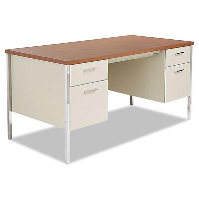 Alera Double Pedestal Steel Desk, Metal Desk, 60w x 30d x 29-1/2h, Cherry/Putty Alera Double Pedestal Steel Desk