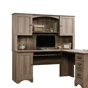 Sauder 417587 Harbor View Collection Wooden Constructed Hutch In Salt Oak Finish