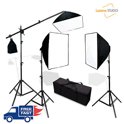 Photo Studio Photography 3 Softbox Light Stand Continuous Lighting Kit Diffuser