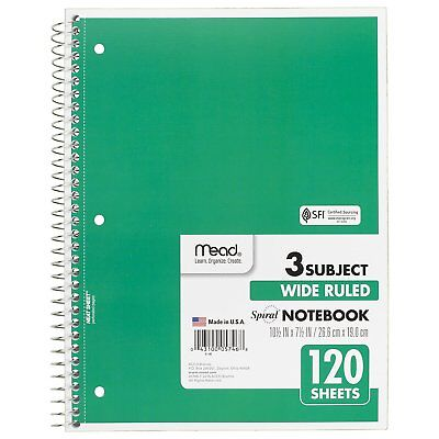 Pack Of 6 Mead Spiral Notebook 120 Sheet 3 Subject Wide Ruled Green 72221