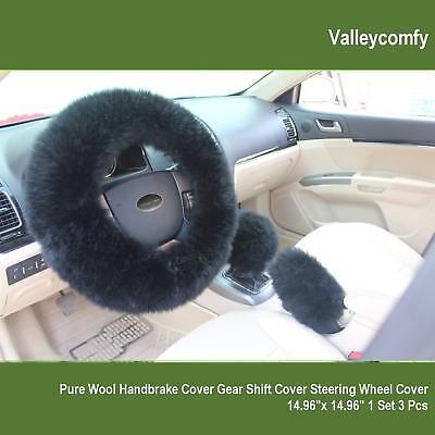Soft Fluffy Plush Car Steering Wheel Cover Gear Shift Black Australian Wool 3pcs Car Soft Steering Wheel Cover