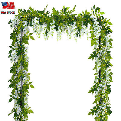 4pcs Artificial White Vine Flowers Silk Wisteria Garland 2 Meters Home Decor ()
